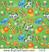 Big Cat Clipart of a Background of Cute Monkeys Owls Giraffes Zebras Lions and Elephants on Green by Gina Jane