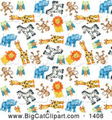 Big Cat Clipart of a Background of Cute Zoo Monkeys Owls Giraffes Zebras Lions and Elephants over White by