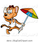 Big Cat Clipart of a Beach Leopard Running with an Umbrella by Dero