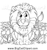Big Cat Clipart of a Black and White Lion Sitting in a Tulip Field by Alex Bannykh