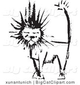 Big Cat Clipart of a Black Ink Male Lion by Xunantunich