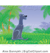 Big Cat Clipart of a Black Panther in a Tropical Jungle by Alex Bannykh