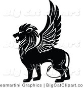 Big Cat Clipart of a Black Winged Lion by Vector Tradition SM