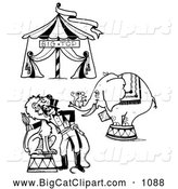 Big Cat Clipart of a Circus Big Top, Mouse on an Elephant and a Lion Tamer Outside by LoopyLand