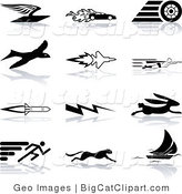 Big Cat Clipart of a Collection of Black Silhouetted Speed Icons on White: a Flying Envelope, Race Car, Tire, Bird, Jet, Super Hero, Rocket, Lightning Bolt, Hare, Sprinter, Cheetah, and Sail Boat by AtStockIllustration