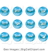 Big Cat Clipart of a Collection of Blue Speed Buttons of Email, Runner, Super Hero, Rabbit, Jet, Bird, Race Car, Tire, Lightning Bolt, Rocket, Cheetah and Sailboat by AtStockIllustration