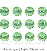 Big Cat Clipart of a Collection of Green Speed Buttons of Email, Runner, Super Hero, Rabbit, Jet, Bird, Race Car, Tire, Lightning Bolt, Rocket, Cheetah and Sailboat by AtStockIllustration