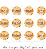 Big Cat Clipart of a Collection of Orange Speed Buttons of Email, Runner, Super Hero, Rabbit, Jet, Bird, Race Car, Tire, Lightning Bolt, Rocket, Cheetah and Sailboat by AtStockIllustration