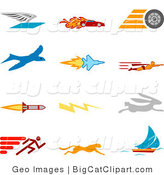 Big Cat Clipart of a Collection of Twelve Colorful Speed Icons of a Winged Envelope, Flaming Race Car, Tire, Blue Dove, Flying Jet, Super Hero, Rocket, Lightning Bolt, Rabbit, Runner, Cheetah and Sailboat, over a White Background by AtStockIllustration