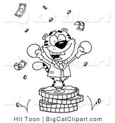 Big Cat Clipart of a Coloring Page of a Tiger Character Wearing Boxing Gloves and Standing on a Stack of Coins by Hit Toon