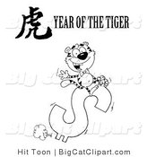 Big Cat Clipart of a Coloring Page of a Wealthy Tiger Riding a Dollar Symbol with a Year of the Tiger Chinese Symbol and Text by Hit Toon