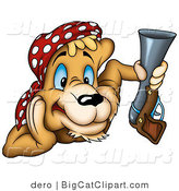 Big Cat Clipart of a Cougar Pirate Holding a Gun by Dero