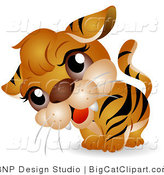 Big Cat Clipart of a Curious Tiger Cub Tilting Its Head by BNP Design Studio
