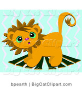 Big Cat Clipart of a Cute Lion on Planks by