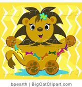 Big Cat Clipart of a Cute Lion with a Bone Necklace by