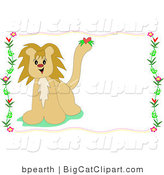 Big Cat Clipart of a Cute Male Lion with a Heart on His Tail, over a White Stationery Background Bordered by Flowers and Vines by
