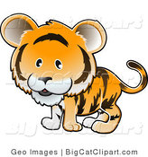 Big Cat Clipart of a Cute Orange Tiger with Black Stripes by AtStockIllustration