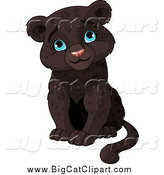 Big Cat Clipart of a Cute Sitting Baby Black Panther Cub Sitting and Smiling by Pushkin