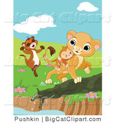 Big Cat Clipart of a Ferret and Lion Cub Saving a Monkey from a Pond by Pushkin