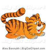 Big Cat Clipart of a Frisky Tiger Cub Crouching by Alex Bannykh