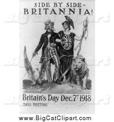 Big Cat Clipart of a Grayscale Uncle Sam - Side by Side - Britannia by JVPD
