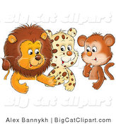Big Cat Clipart of a Group of Three Friends, a Cute Baby Lion, Leopard and Monkey, Chatting by Alex Bannykh