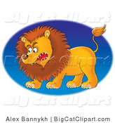 Big Cat Clipart of a Growling Mad Male Lion Facing Left, over a Blue Oval by Alex Bannykh