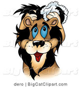 Big Cat Clipart of a Handsome Male Lion Washing His Mane with Shampoo by Dero