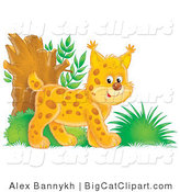 Big Cat Clipart of a Happy Bobcat Exploring in the Woods by Alex Bannykh
