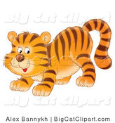 Big Cat Clipart of a Happy Playful Tiger Cub by Alex Bannykh