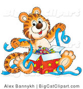 Big Cat Clipart of a Happy Tiger Cub Holding Ribbons While Opening Presents by Alex Bannykh