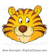 Big Cat Clipart of a Happy Tiger Face by Alex Bannykh