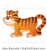 Big Cat Clipart of a Happy Tiger Walking by Alex Bannykh