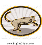 Big Cat Clipart of a Jumping Cougar in an Oval of Rays by Patrimonio