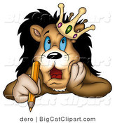 Big Cat Clipart of a King Lion Writing by Dero