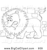Big Cat Clipart of a Lineart Guard Lion by Alex Bannykh