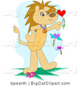 Big Cat Clipart of a Lion Standing on Its Hind Legs, Playing with Floating Flowers in the Shape of Hearts by