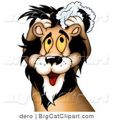 Big Cat Clipart of a Male Lion Shampooing His Mane by Dero