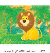 Big Cat Clipart of a Male Lion Sitting Under Palm Trees by Alex Bannykh
