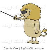 Big Cat Clipart of a Male Lion Standing up on His Hind Legs and Using a Pointer Stick by Djart