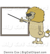 Big Cat Clipart of a Male Lion Teacher Standing and Using a Pointer Stick to Discuss Rules on a Blank Board by Djart
