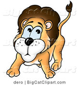 Big Cat Clipart of a Nervous Lion by Dero