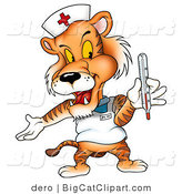 Big Cat Clipart of a Nurse Tiger with a Thermometer by Dero