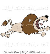 Big Cat Clipart of a Pissed off Lion Leaping by Djart