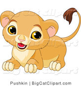 Big Cat Clipart of a Playful Lion Cub by Pushkin