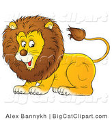 Big Cat Clipart of a Playful Young Lion by Alex Bannykh