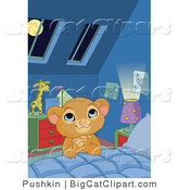 Big Cat Clipart of a Praying Lion Cub at His Bed Side by Pushkin