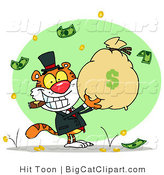Big Cat Clipart of a Prosperous Tiger Holding a Money Bag by Hit Toon