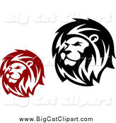 Big Cat Clipart of a Red and Black Male Lion Heads by Vector Tradition SM