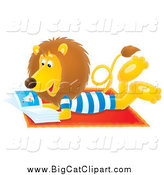 Big Cat Clipart of a Relaxed Lion Reading a Book on the Beach by Alex Bannykh